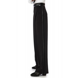 Sasuel Latin Trousers Stretch Leather Velvet Binding