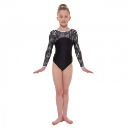 Tappers & Pointers Cascade Hologram Foil Long Sleeve Leotard (Size 3 & 4)