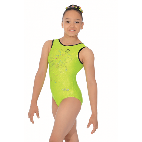 d81d0a6d4149 The Zone Z535HEA Hearts Fluorescent Lime Print Leotard
